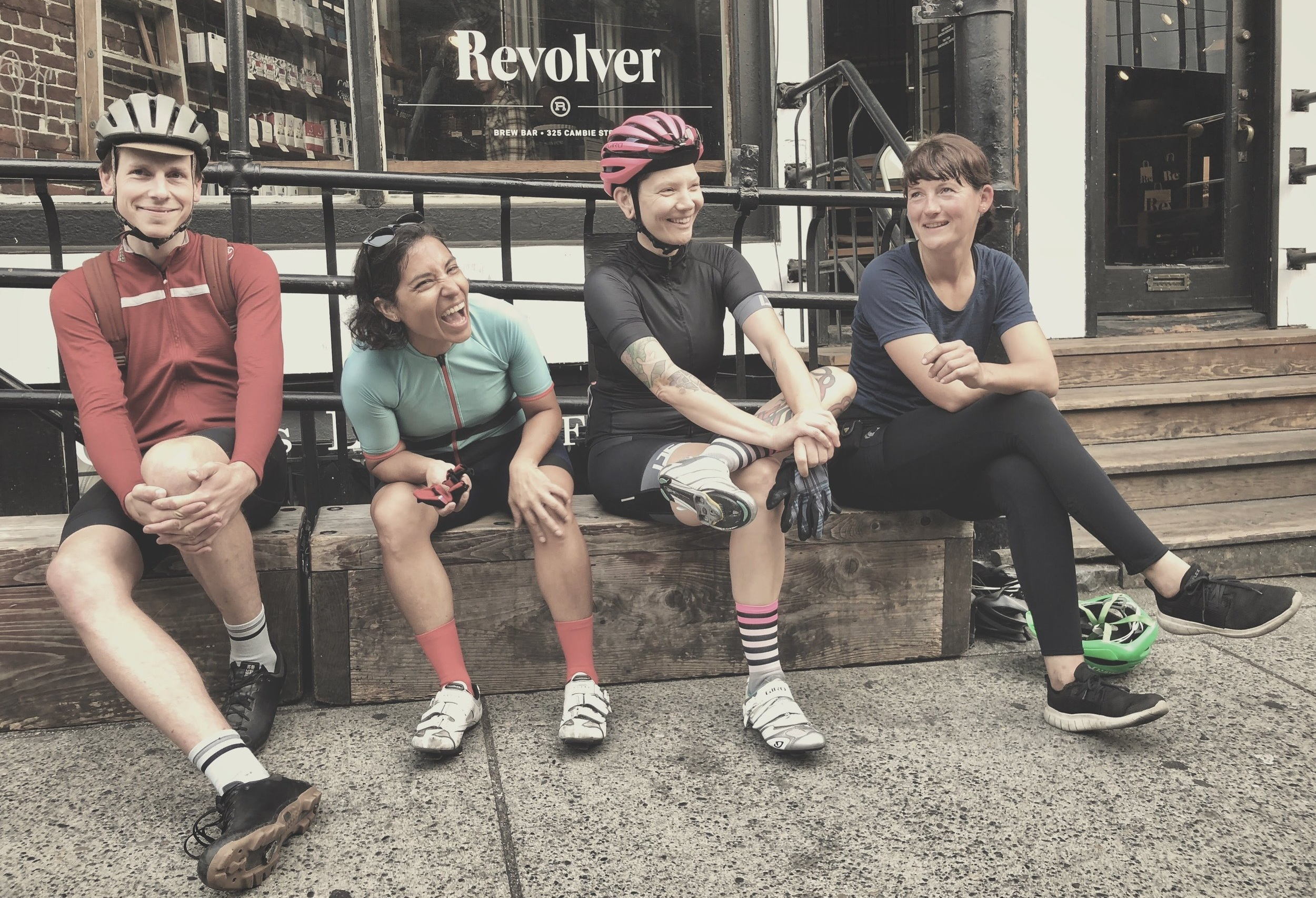 Waiting for coffeecake and cortados at  Revolver Coffee  in Vancouver;  Geordan  /  Monica  /  Jill  /  Nora  / PHOTO:  @ferbyshellbourne
