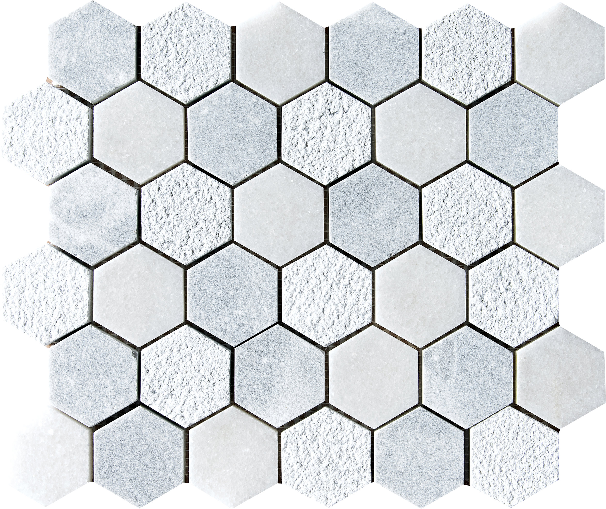 "MS01287 allure & glacier full hexagon textured mosaic 10 3/8""x12""x3/8"" sheets"