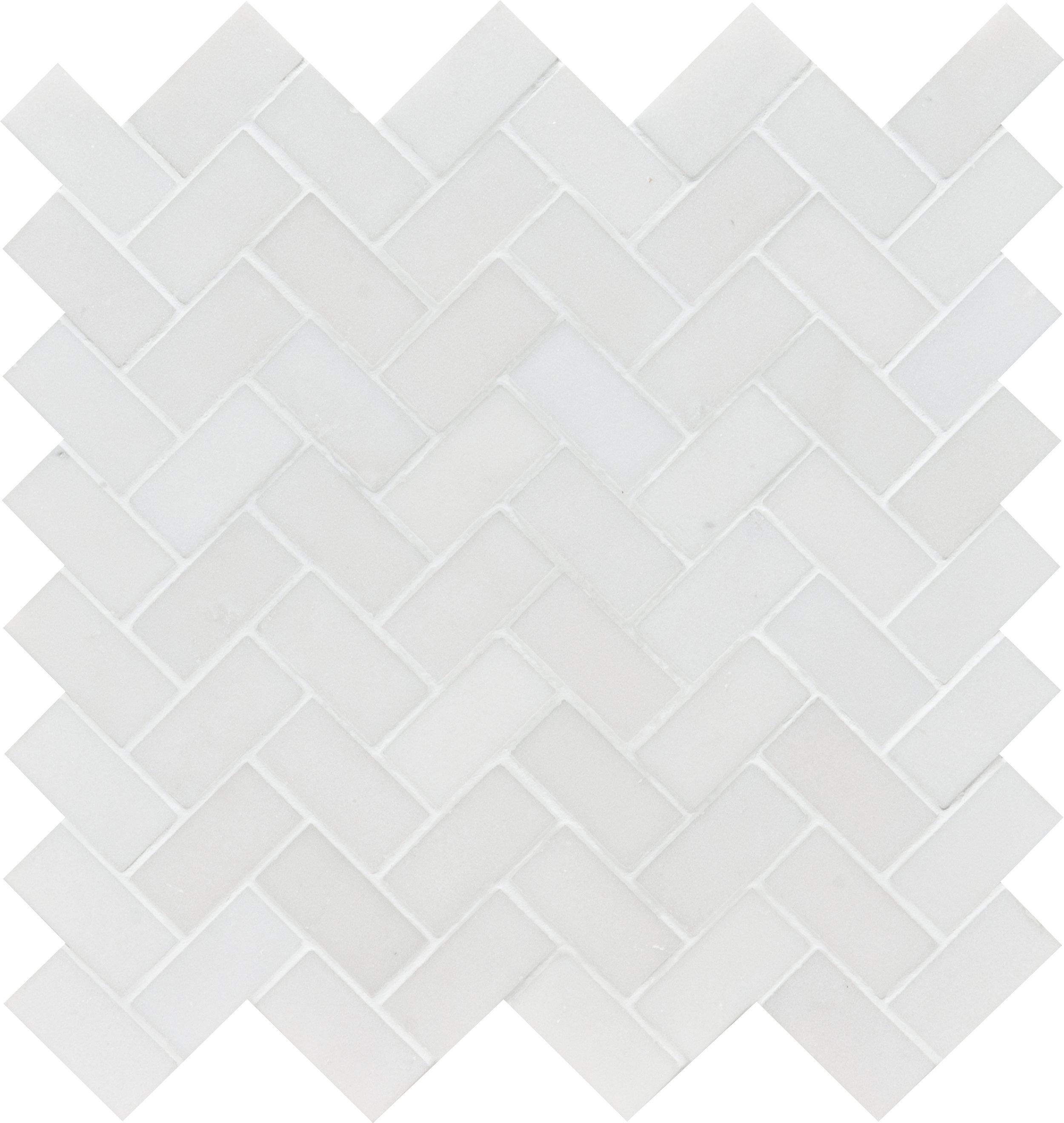 "MS01335 aspen white honed herringbone 1""x2"" - 12 1/8""x13 3/8""x3/8"" sheets"