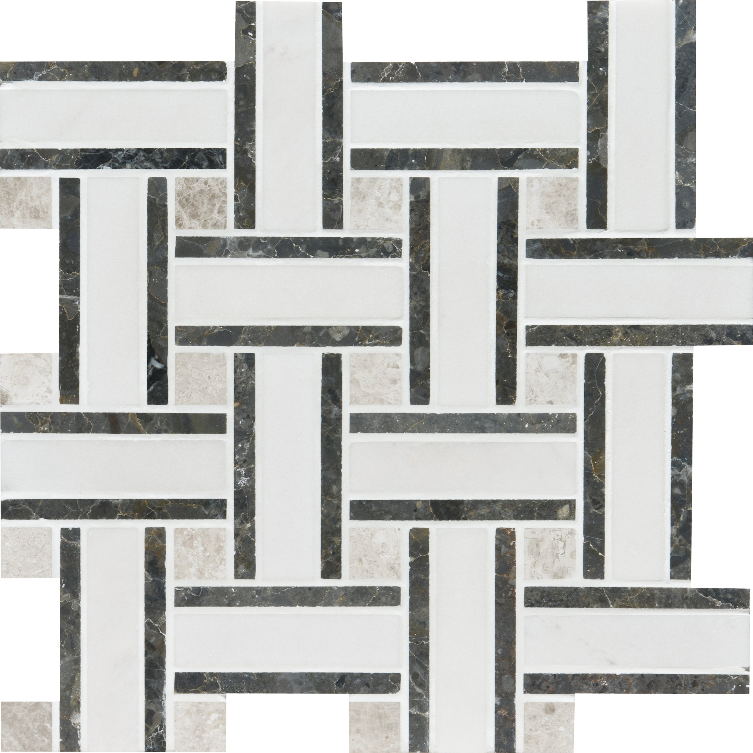 "MS01332 aspen white honed lattice mosaic 12""x12""x3/8"" sheets"