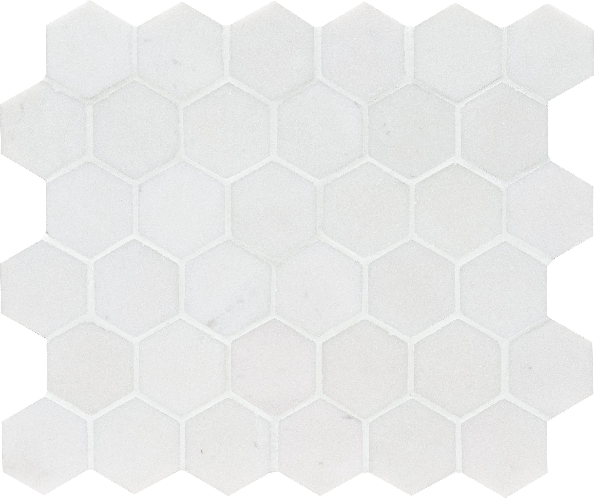 "MS01336 aspen white honed hexagon 2"" - 10 3/8""x12x3/8"" sheets"