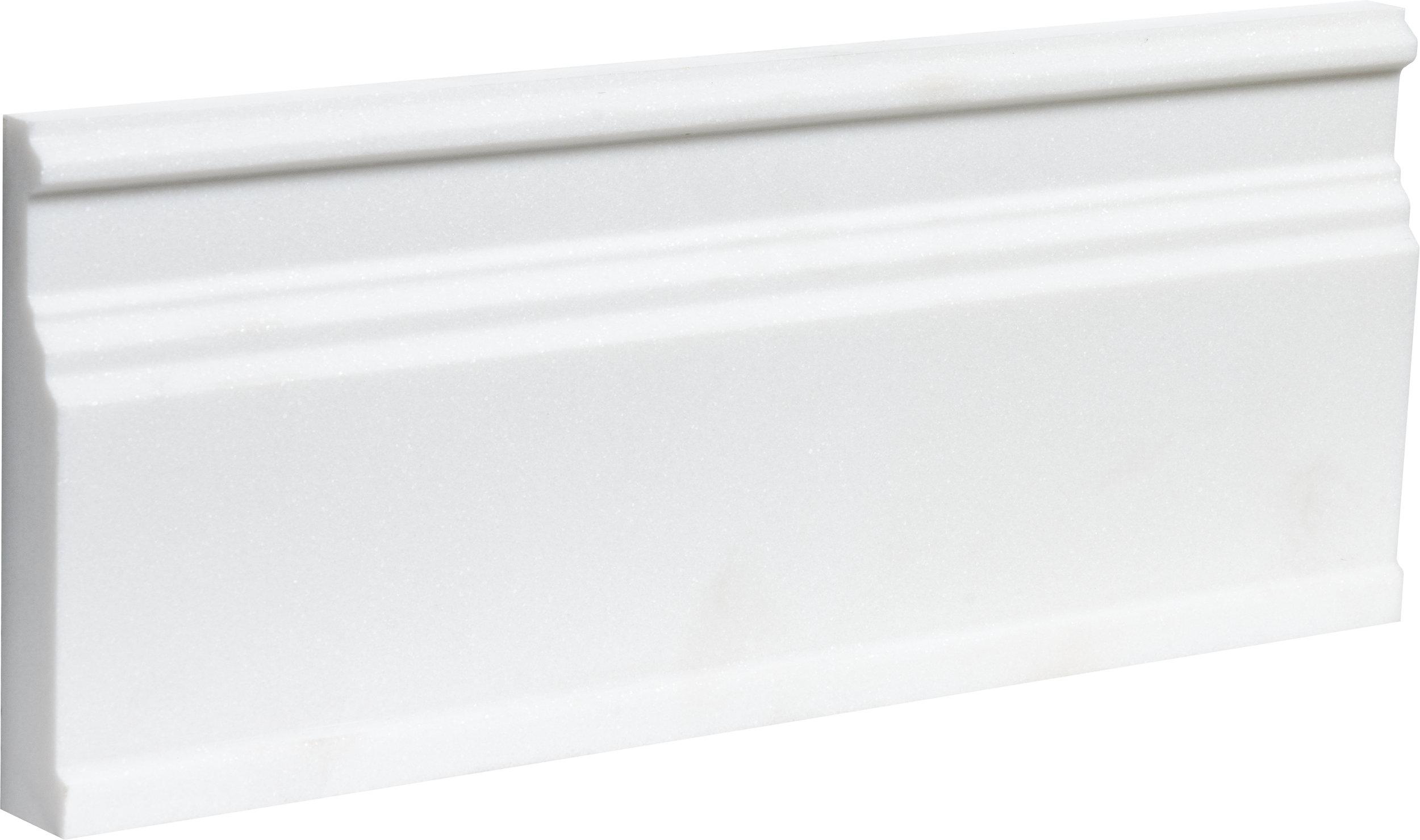 """ML00773 aspen white honed modern base molding 5 1/16""""x12""""x15/16"""