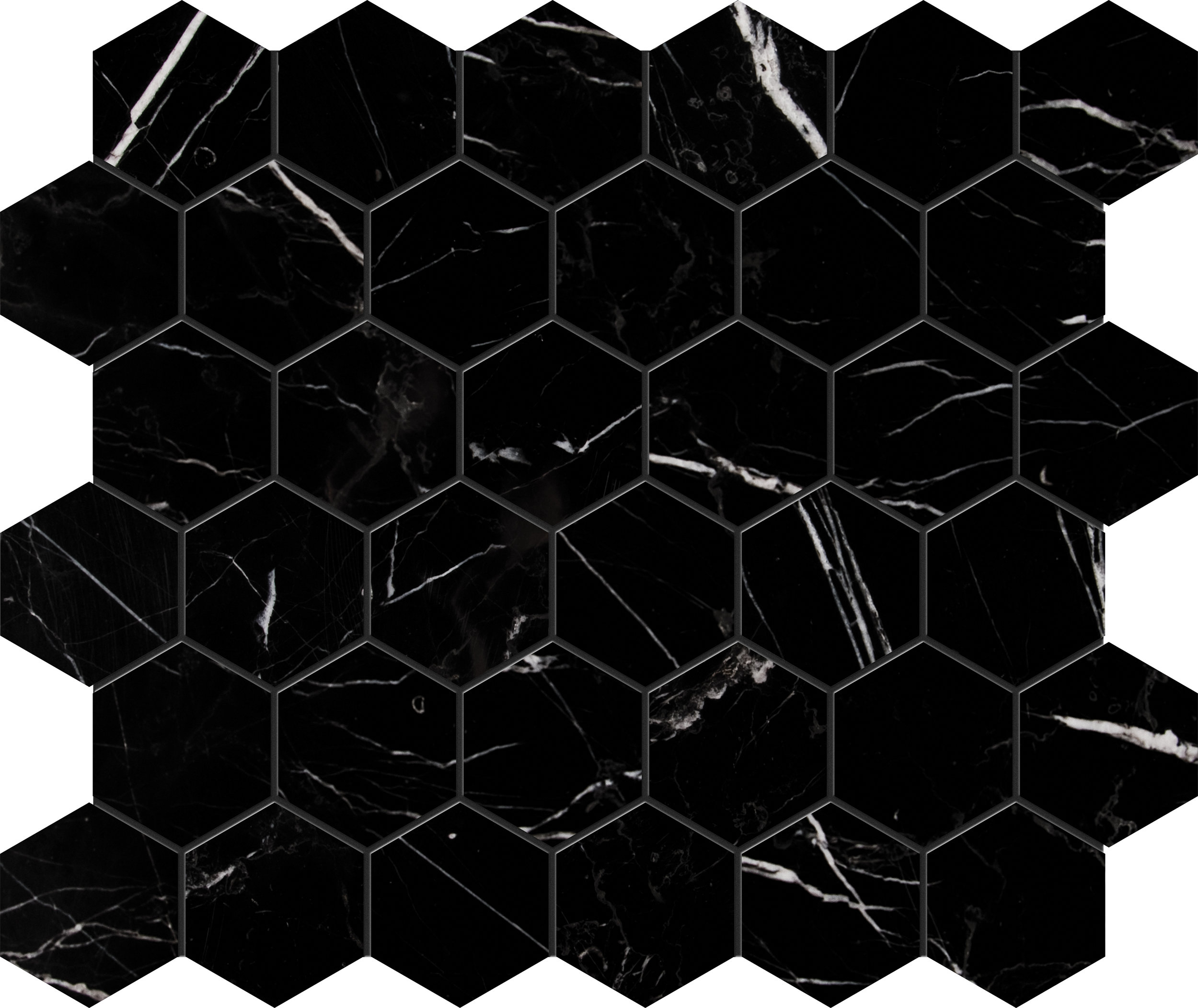 "MS90088 black polished hexagon 2"" 10 3/8""x12x3/8"" sheets"