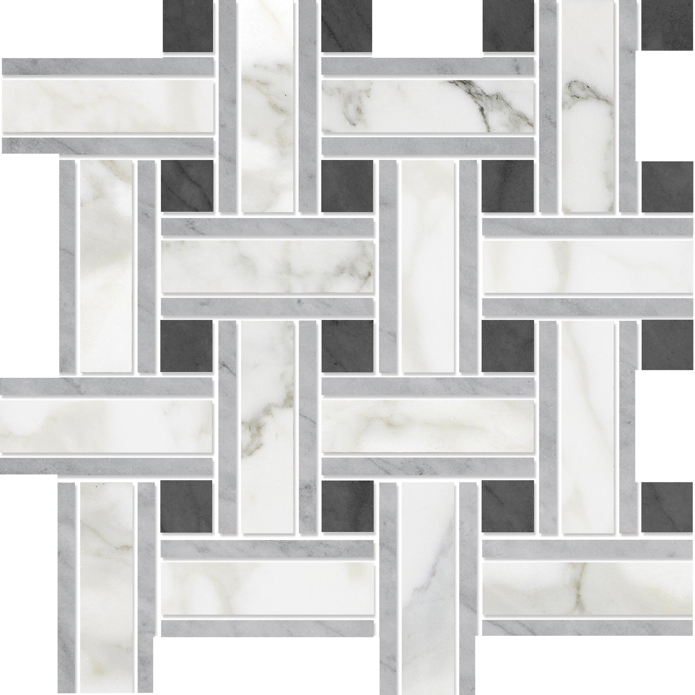 "MS90076 calacatta gold modern polished lattice mosaic 12""x12""x3/8"" sheets"