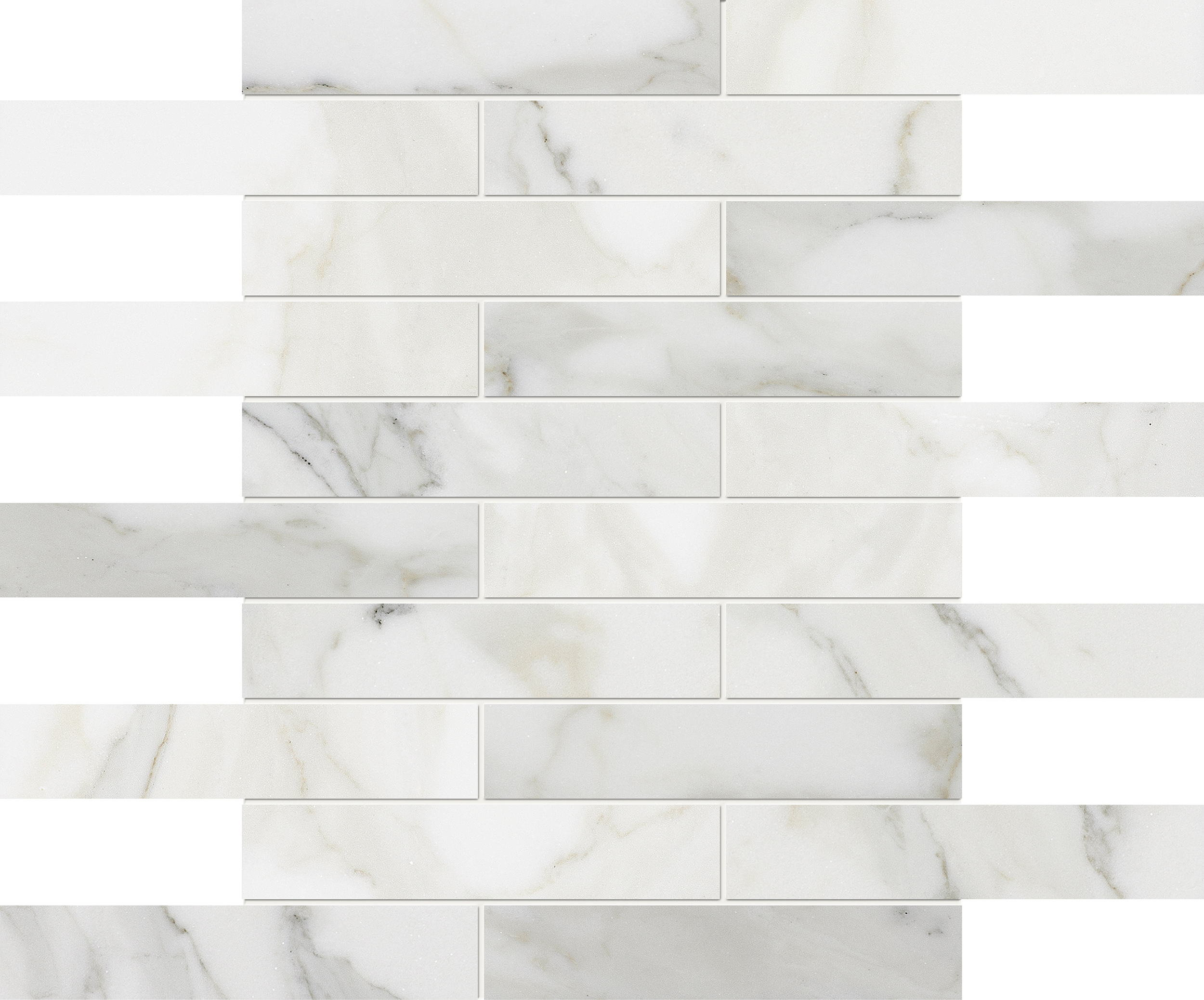 """MS90075 calacatta gold modern polished staggered mosaic 1 1/4""""x6"""" 12""""x12""""x3/8"""" sheets"""