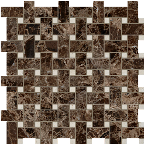 "MS90044 emperador dark& crema marfil polished basket weave 1""x2"" 12""x12""x3/8"" sheets"