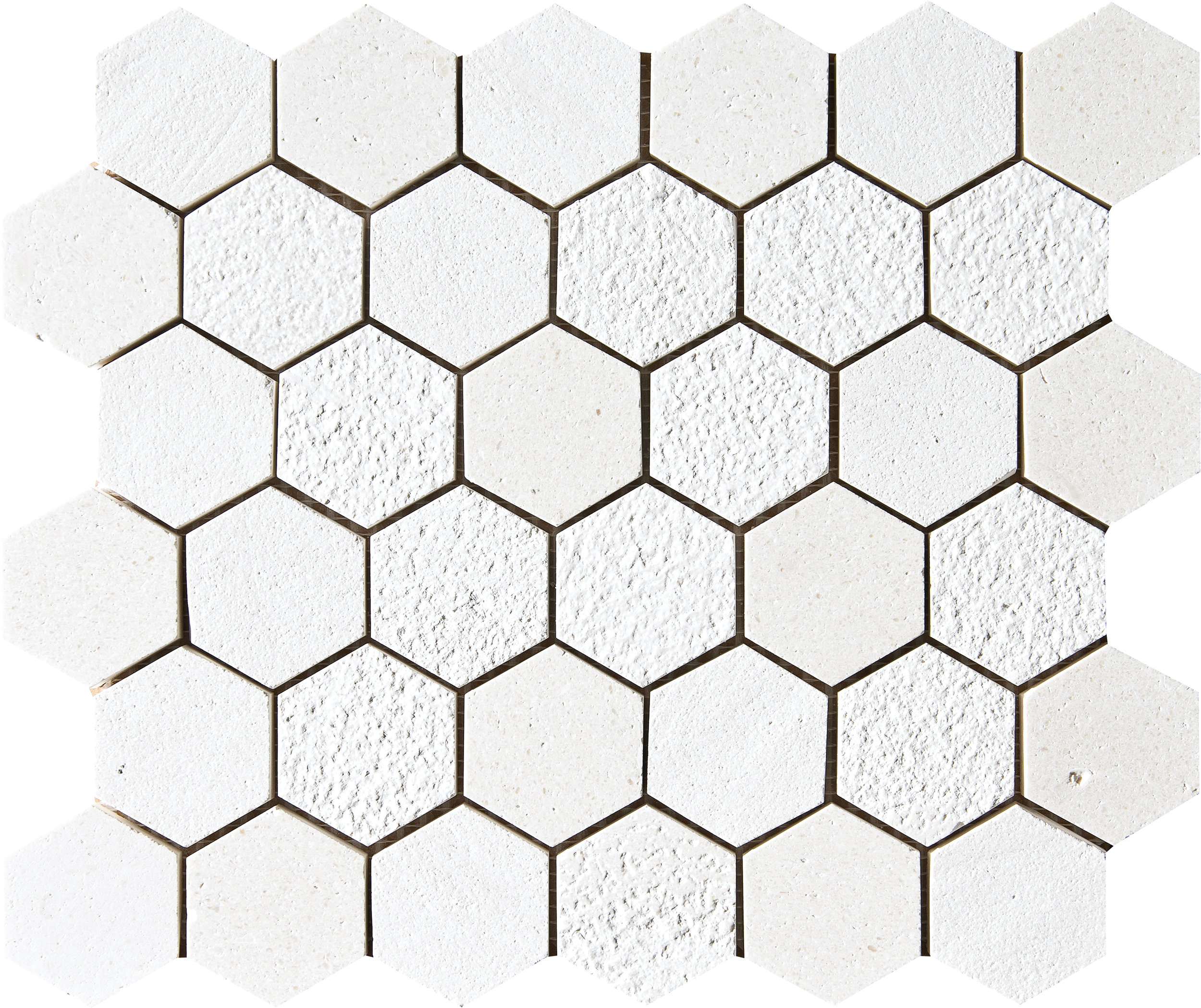 "MS01290 champagne full hexagon textured mosaic 10 3/8""x12""x3/8"" sheets"