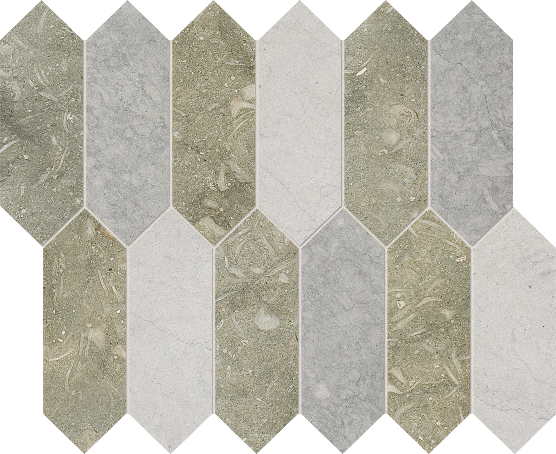 "NW00035 *(S.O.) olive green honed & britannia honed britannia dark honed medium picket mosaic 2""x6"" 13 3/16""x11 1/16""x3/8"" sheets"