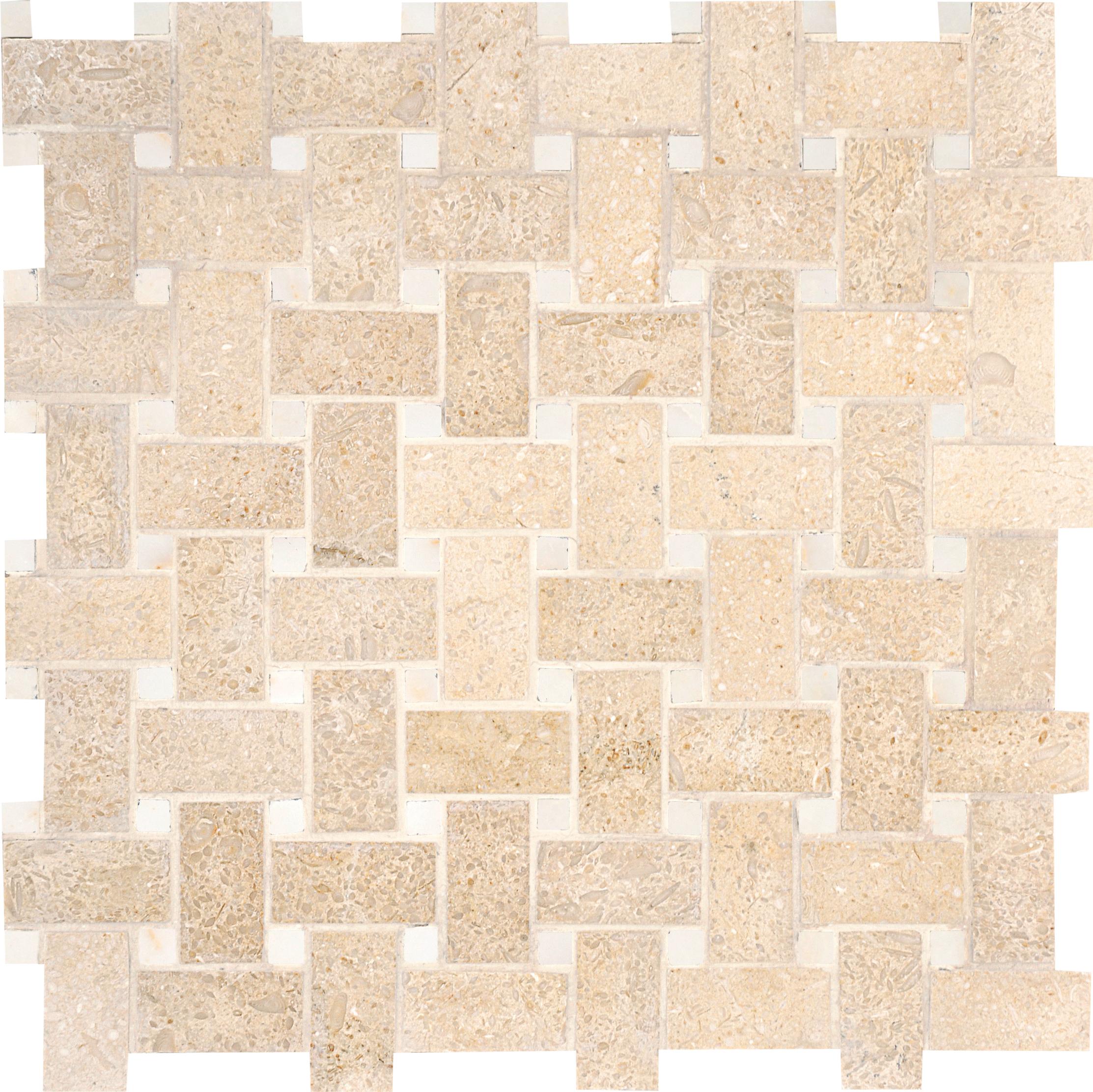 "MS00709 seashell & afyon sugar honed basket weave 1""x2"" 12""x12""x3/8"" sheets"