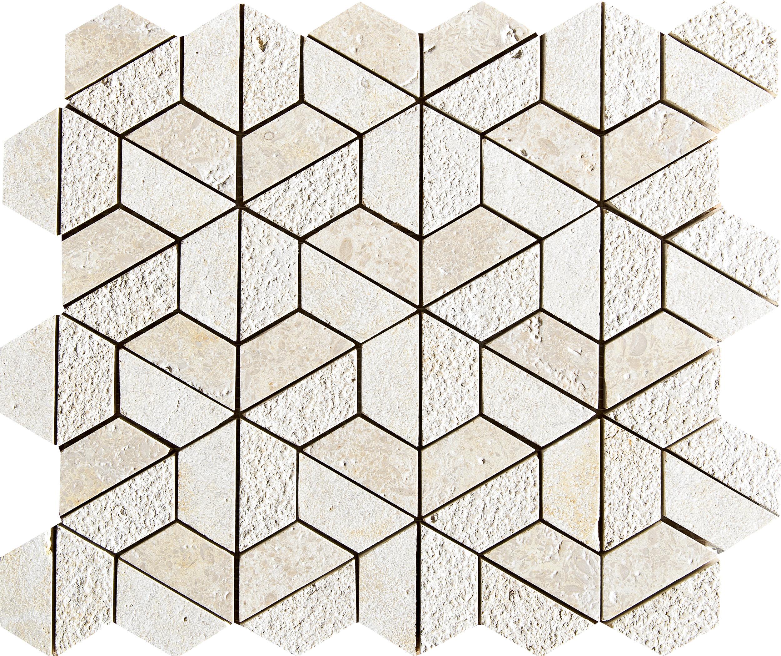 "MS01274 seashell 3d hexagon textured 3/8"" mosaic 10 3/8""x12""x3/8"""