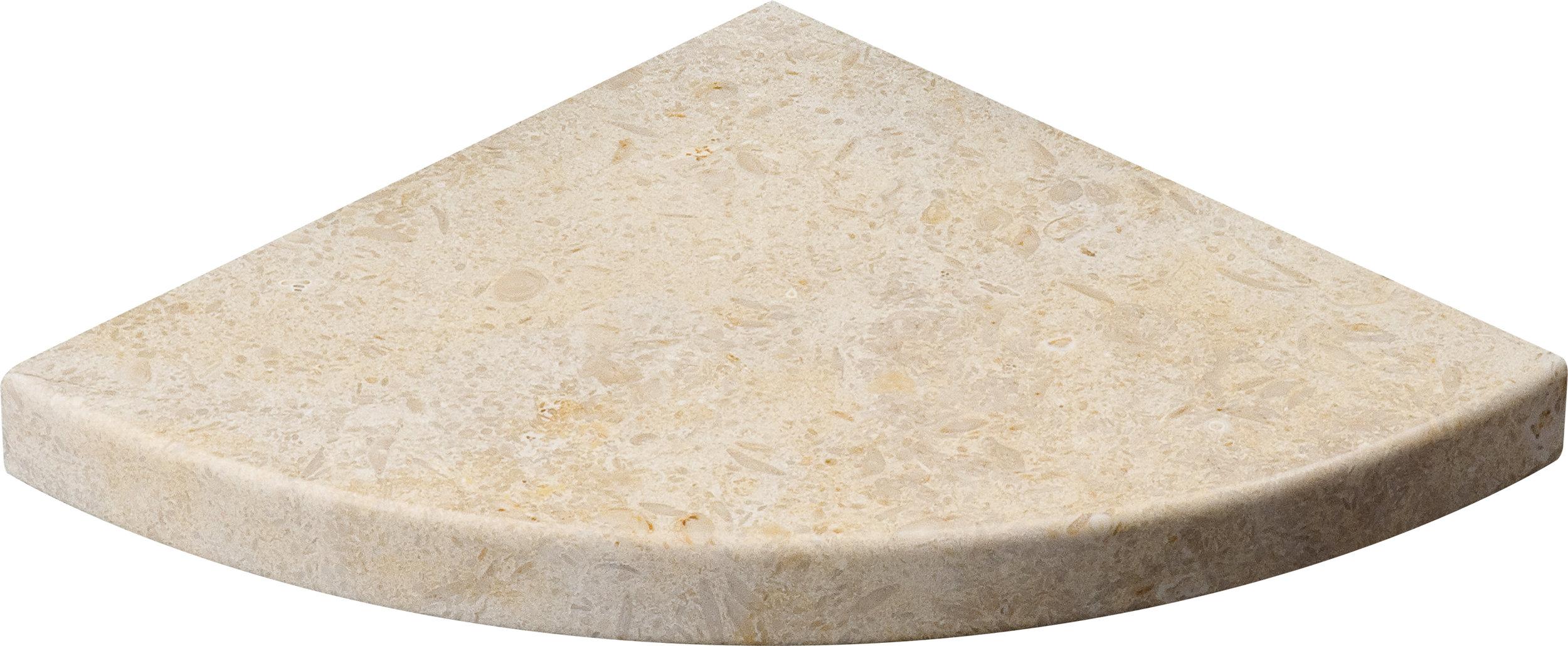 "SP00627 seashell honed corner shelf 8""x8""x3/4"""