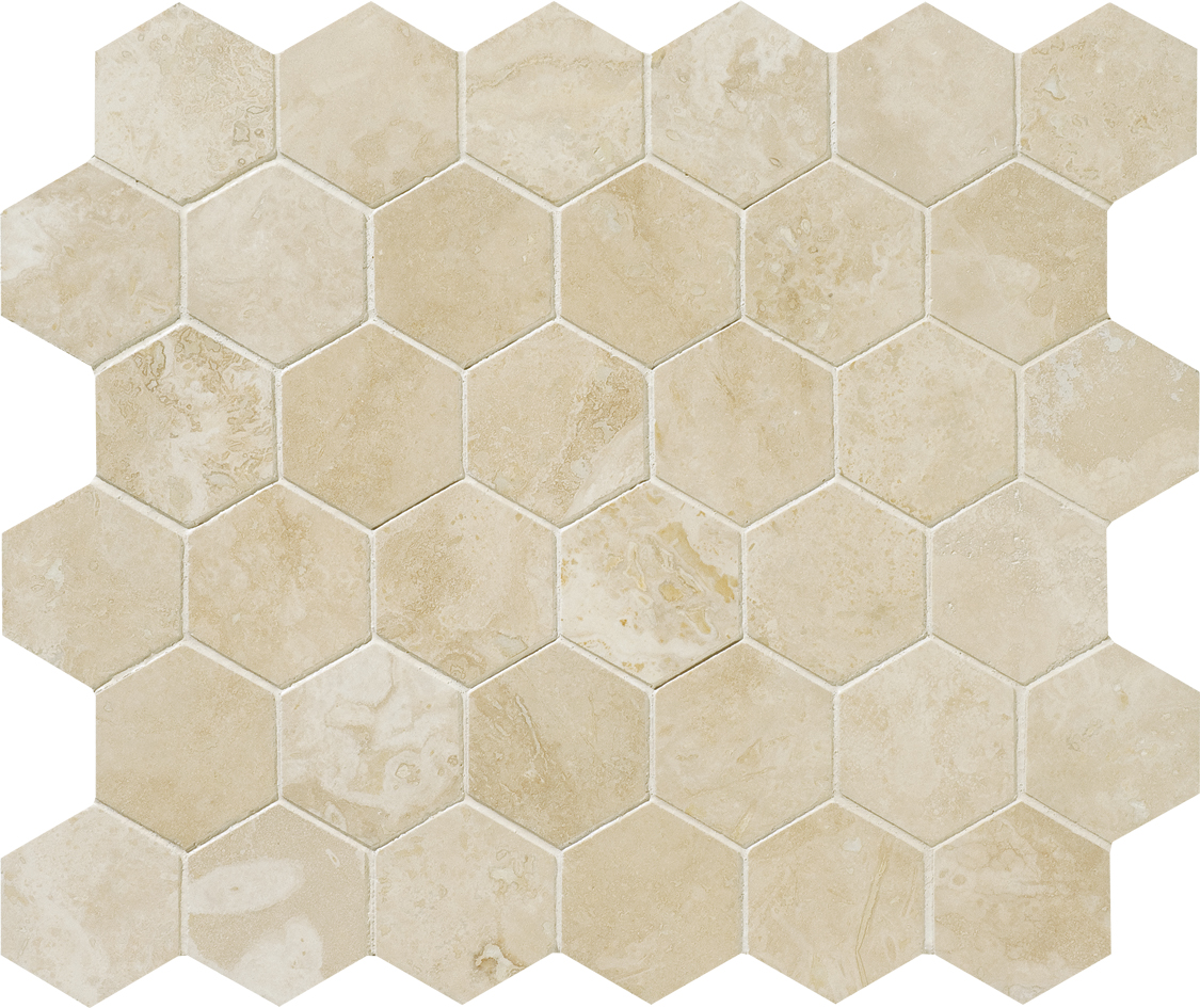 "MS00706 ivory honed & filled hexagon 2"" 10 3/8""x12x3/8"" sheets"