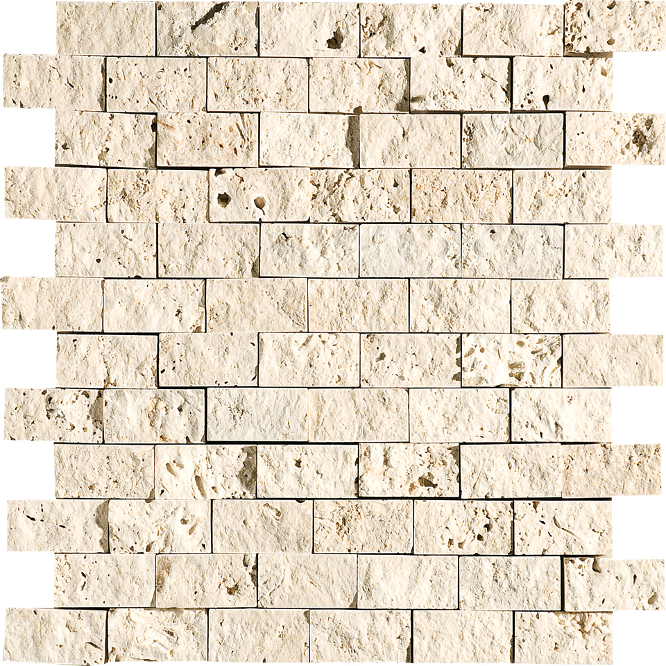 "MS00601 ivory rock face 1""x2"" 12 5/8""x12 5/8"" sheets"