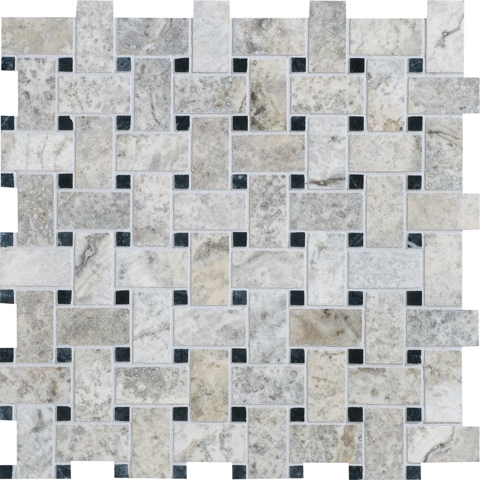 "MS00735 silverado & black honed & filled basket weave 1""x2"" 12""x12""x3/8"" sheets"