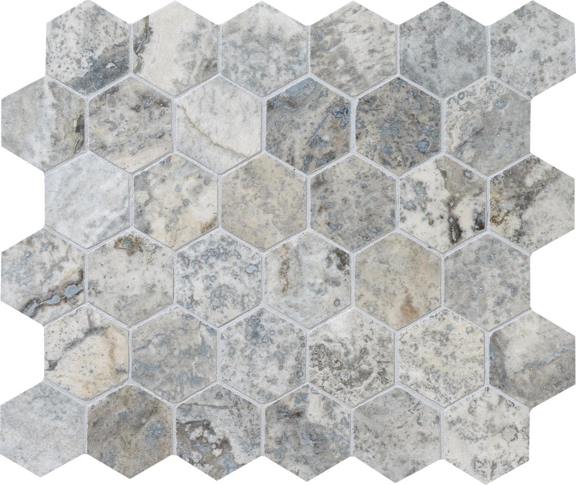 "MS00734 silverado honed & filled hexagon 2"" 10 3/8""x12x3/8"" sheets"