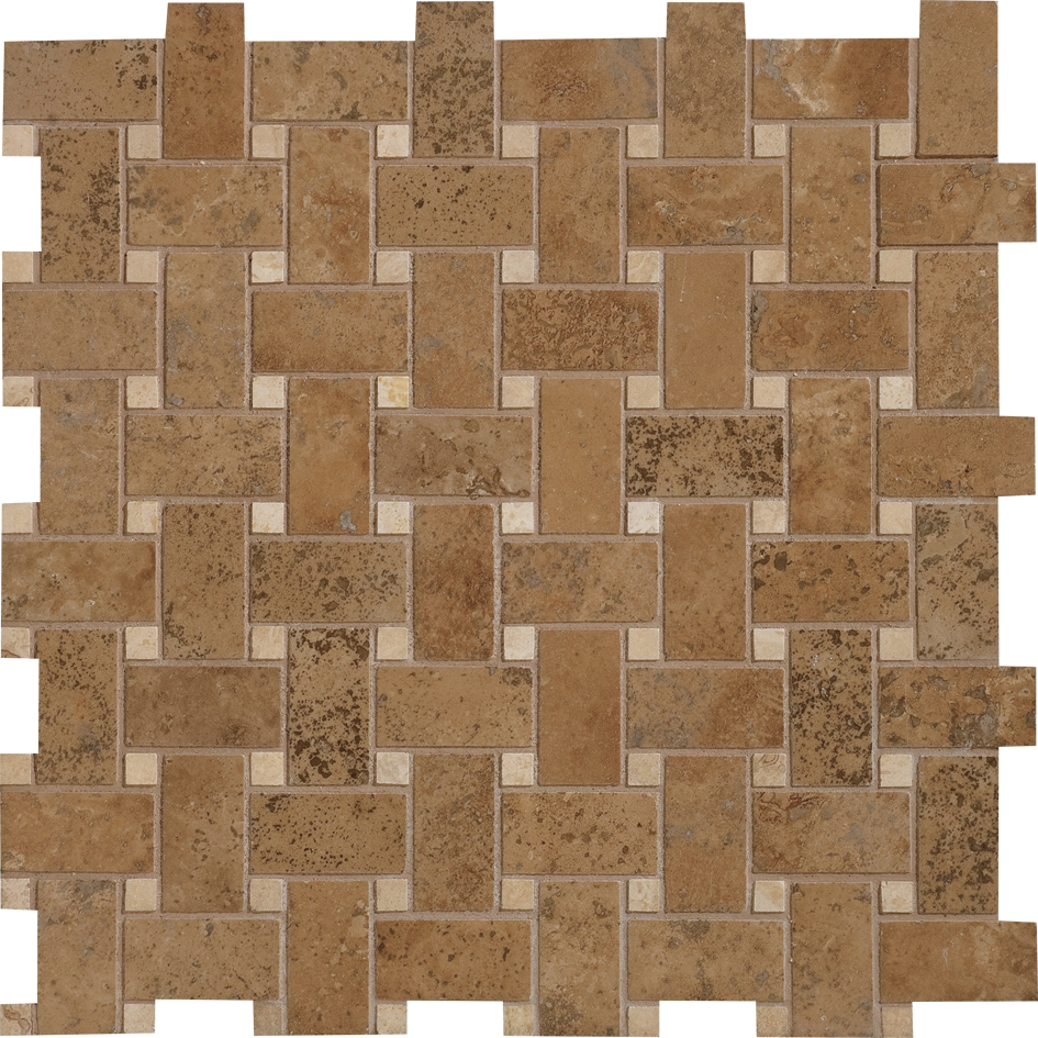 "MS00714 walnut dark & ivory honed & filled basket weave 1""x2"" 12""x12""x3/8"" sheets"