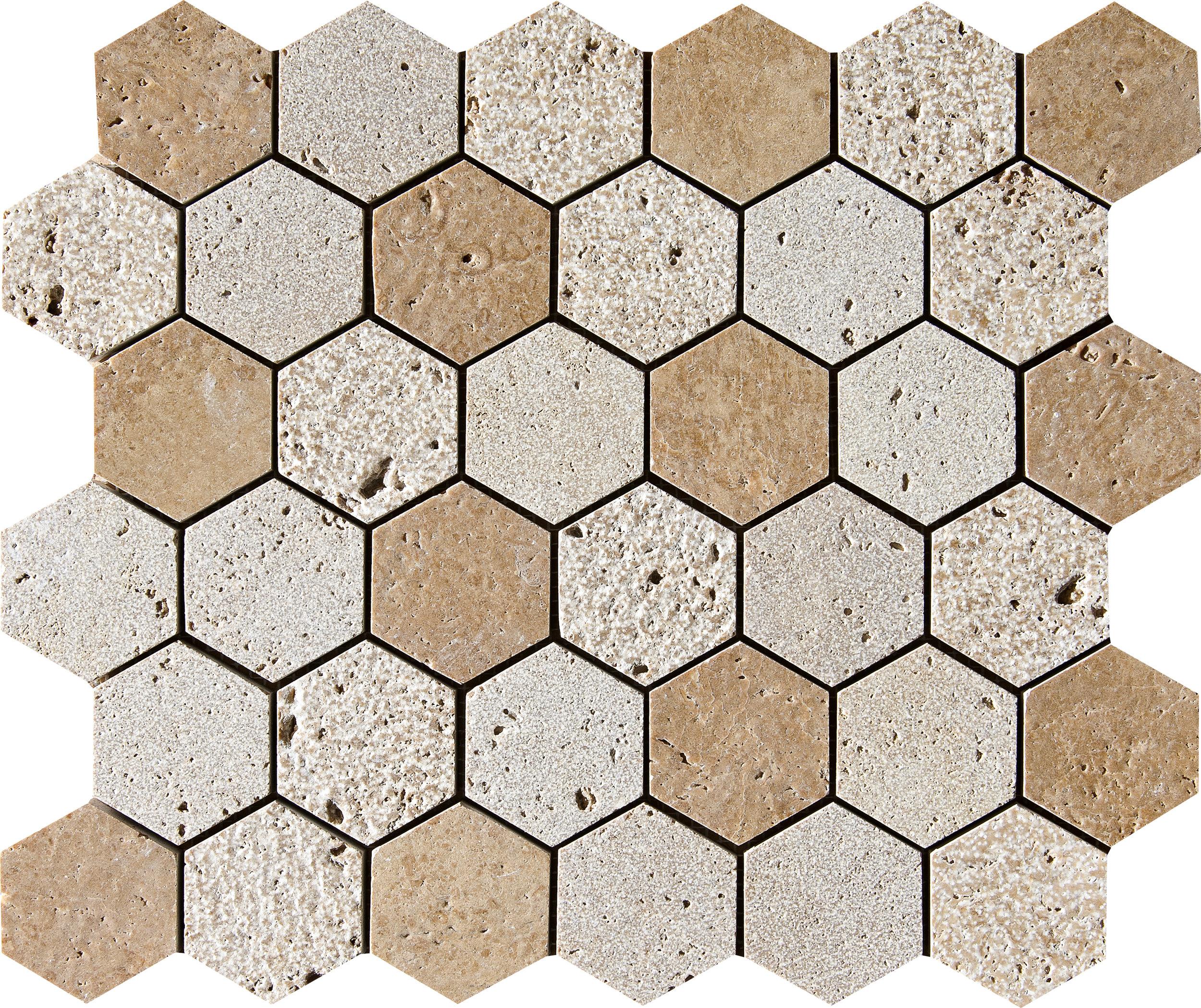 "MS01296 *(S.O.) walnut dark full hexagon textured mosaic 10 3/8""x12""x3/8"" sheets"