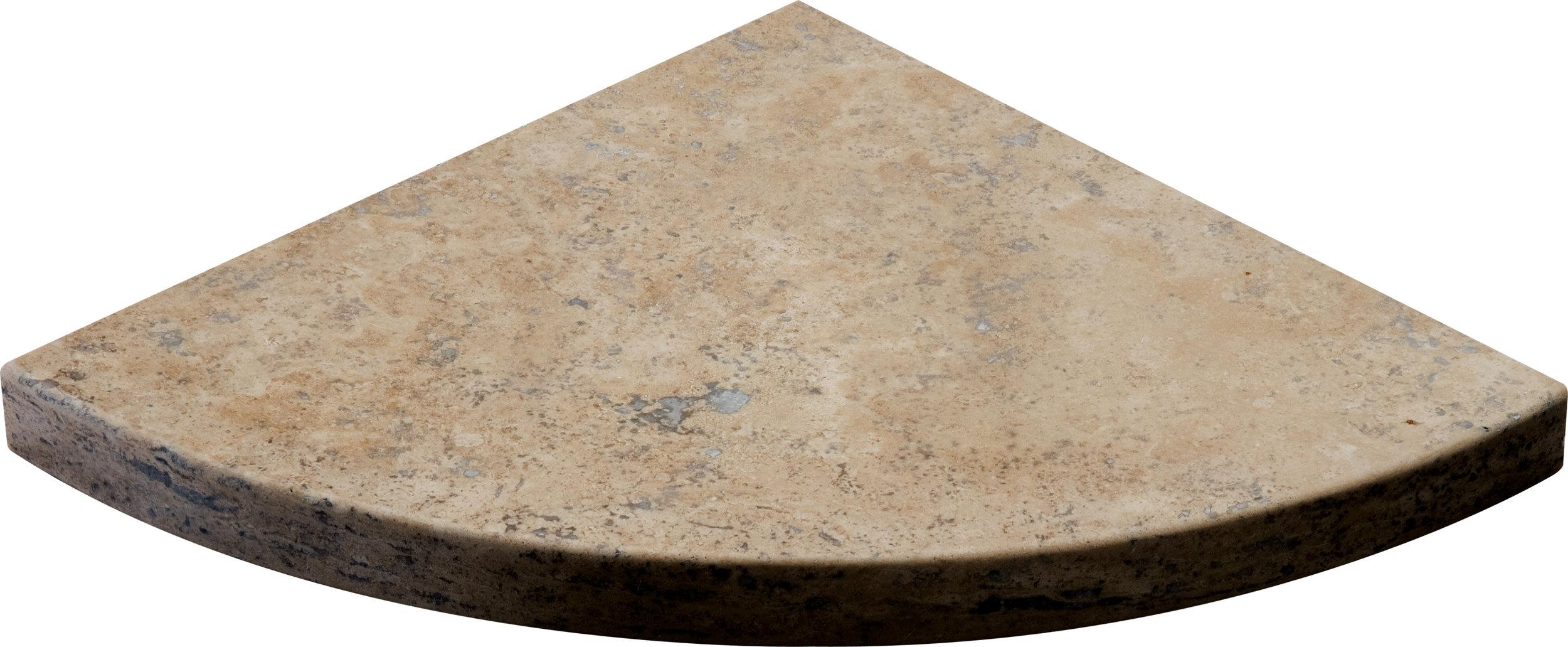 "SP00584 walnut dark honed & filled corner shelf 8""x8""x3/4"""