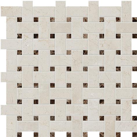"MS90045 crema marfil & emperador dark polished basket weave 1""x2"" 12""x12""x3/8"" sheets"