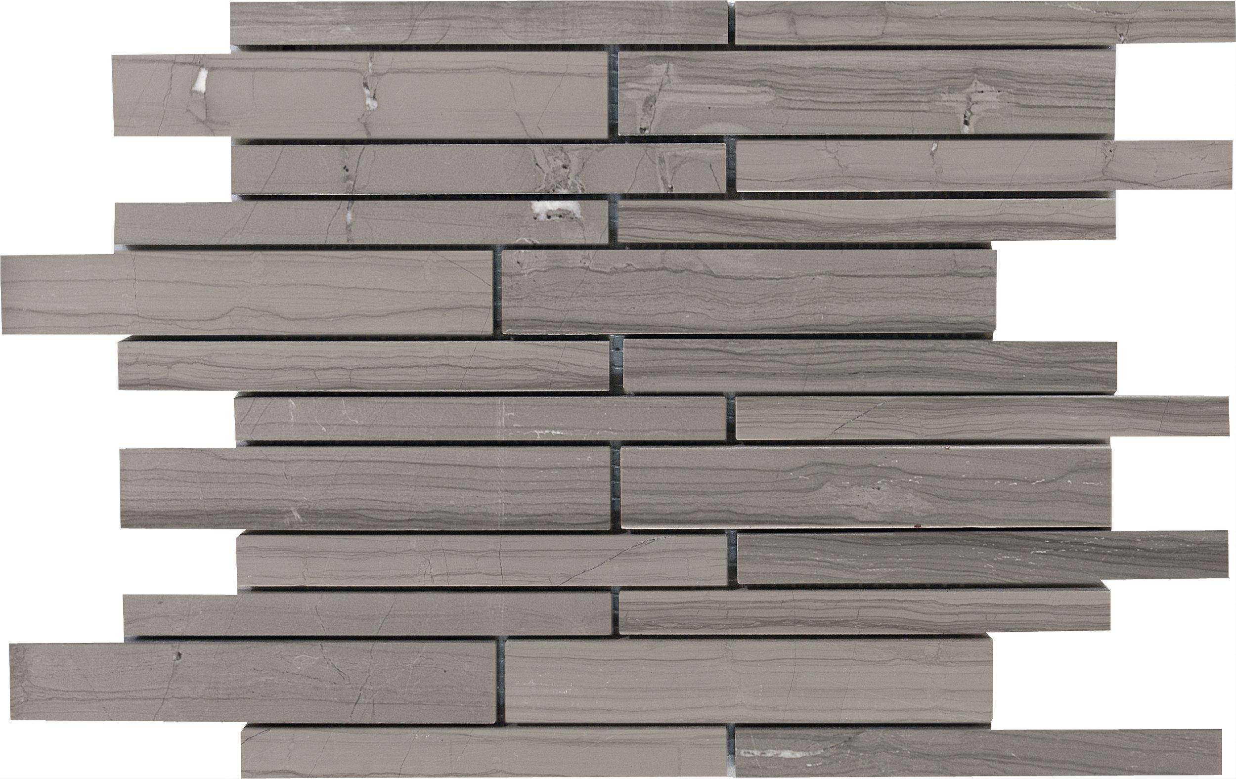 "MS90101 haisa dark honed staggered mosaic 9""x12""x3/8"" sheets"