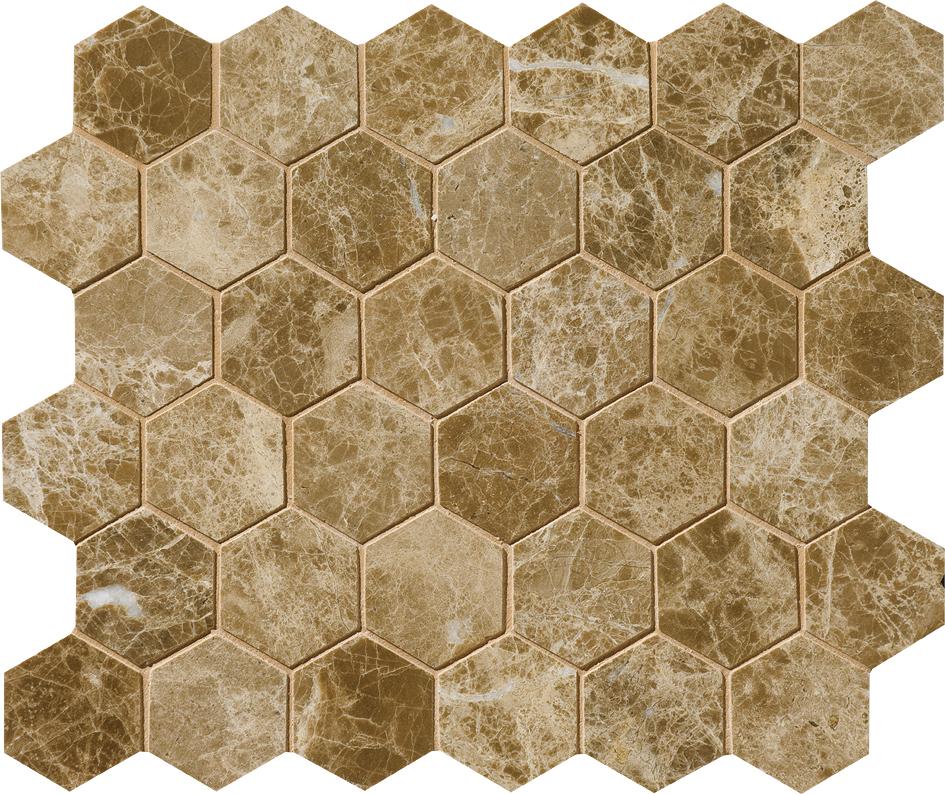 "MS00774 paradise polished hexagon 2"" 10 3/8""x12x3/8"" sheets"