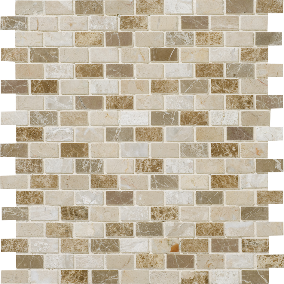 """MS00798 milano blend polished 5/8""""x1 1/4"""" staggered 12""""x12""""x3/8"""" sheets"""