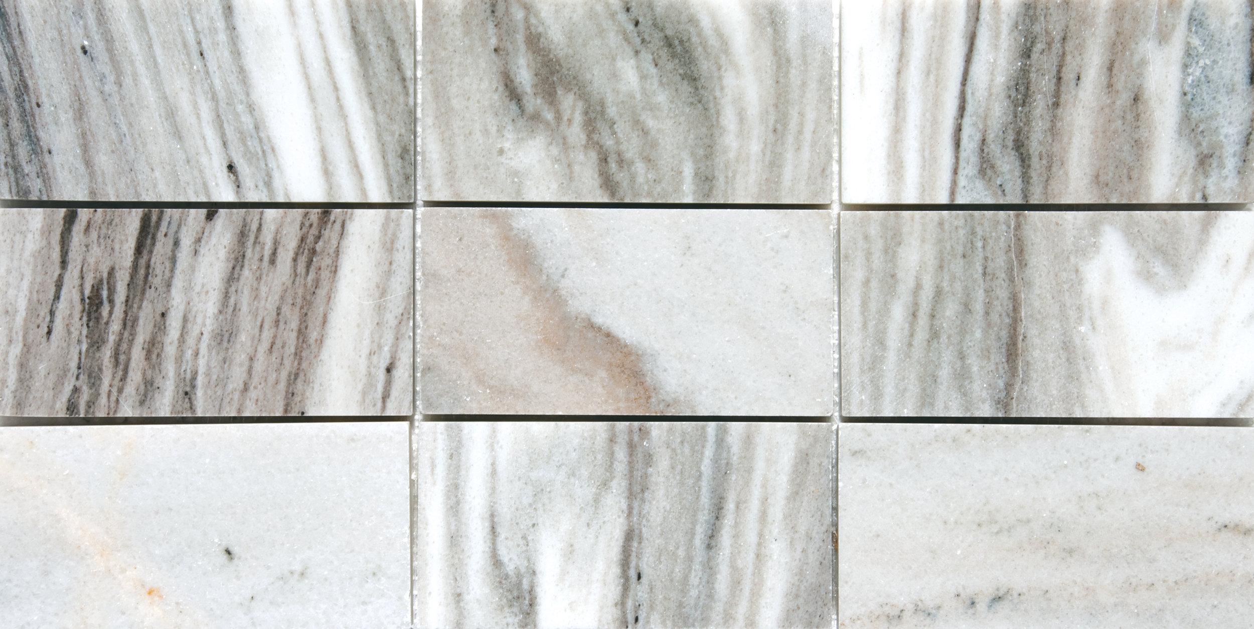 "MS01183 verona polished 2 3/4""x5 1/2"" mesh mounted subway tile 8 7/16""x16 11/16"" sheets"