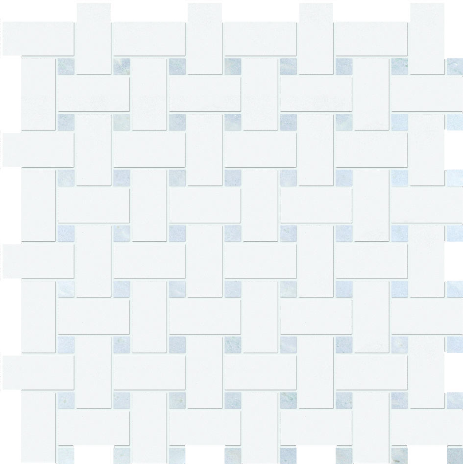 "MS90100 thassos white & blue celeste polished basket weave 1""x2"" 12""x12""x3/8"" sheets"