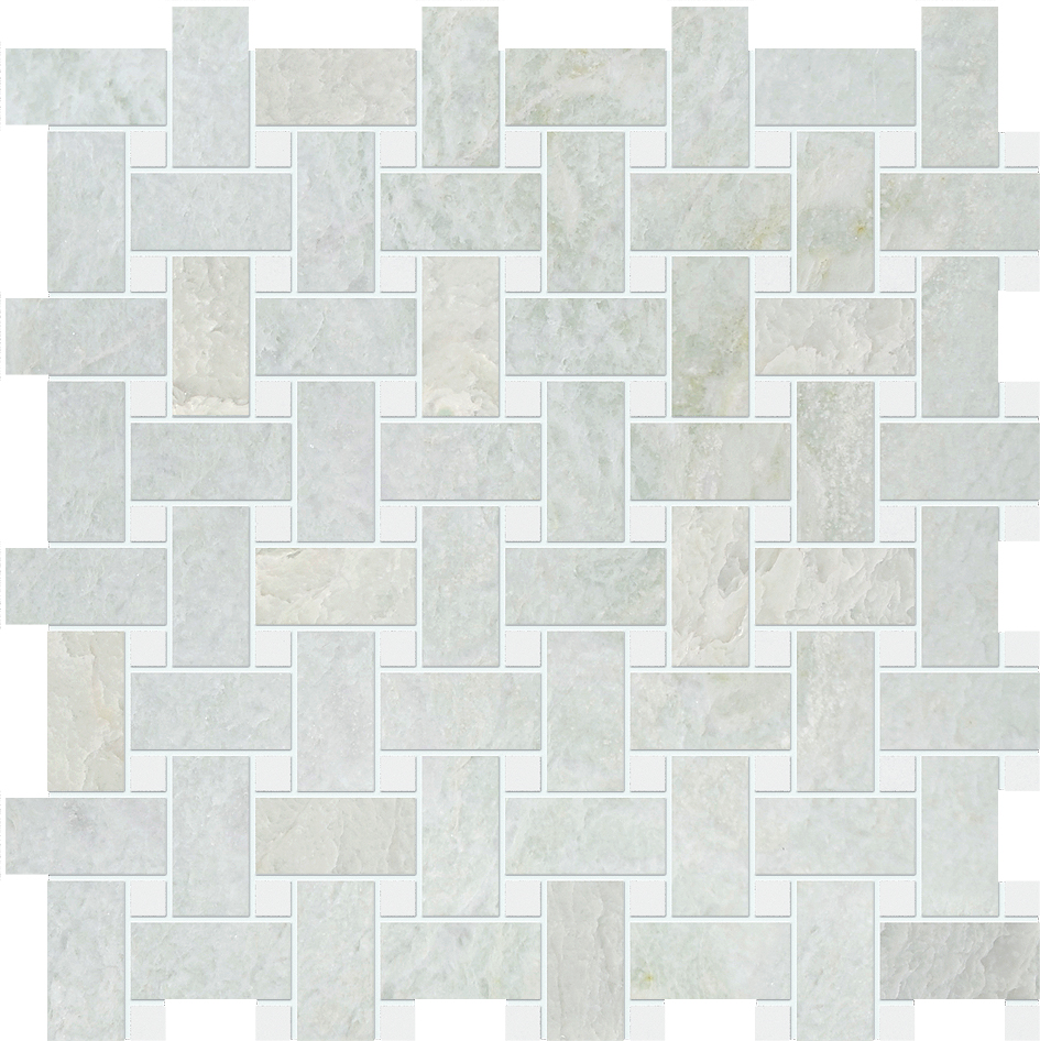 "MS90043 ming green & thassos white polished basket weave 1""x2"" 12""x12""x3/8"" sheets"