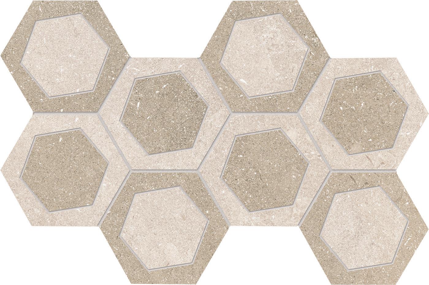 "8"" x 14"" Mosaic Esagona Bicolor - White/Sand"