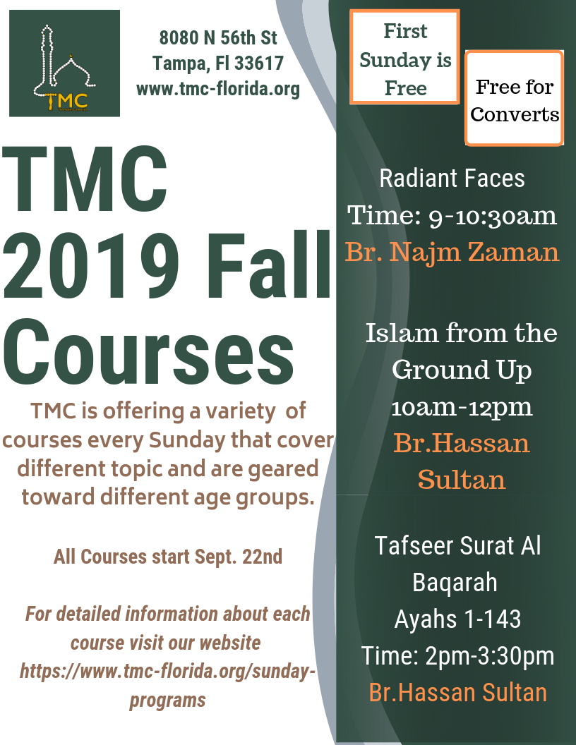 TMC 2019 Fall Courses - See below for more details about each course