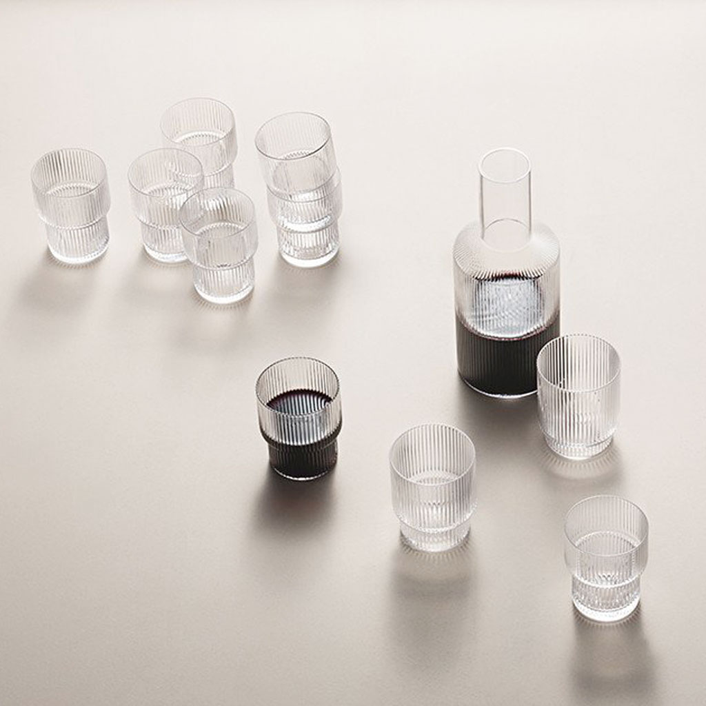 mouth blown ripple glasses