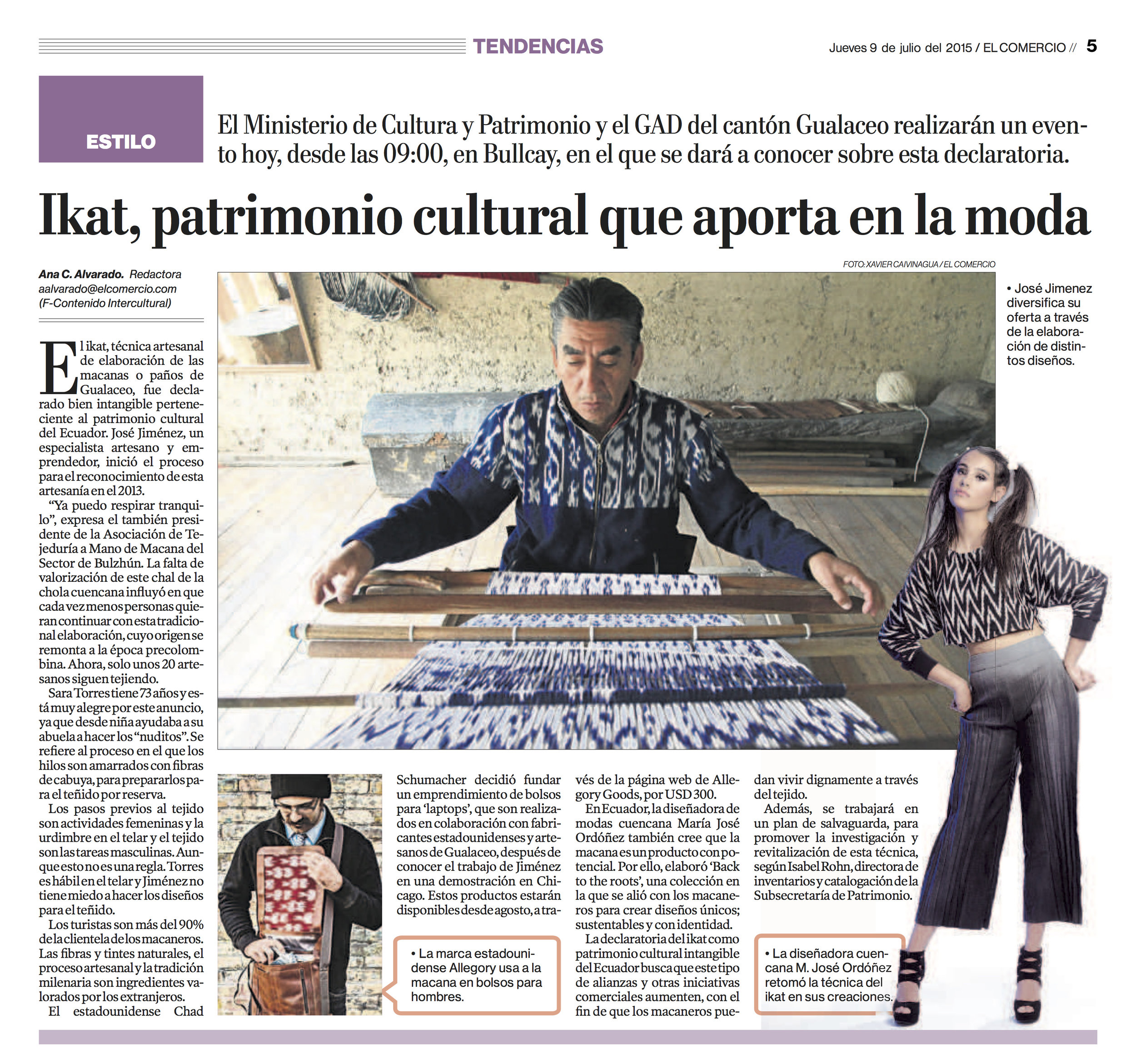 Ikat, Cultural Heritage that contributes to fashion  El Comercio, July 2015
