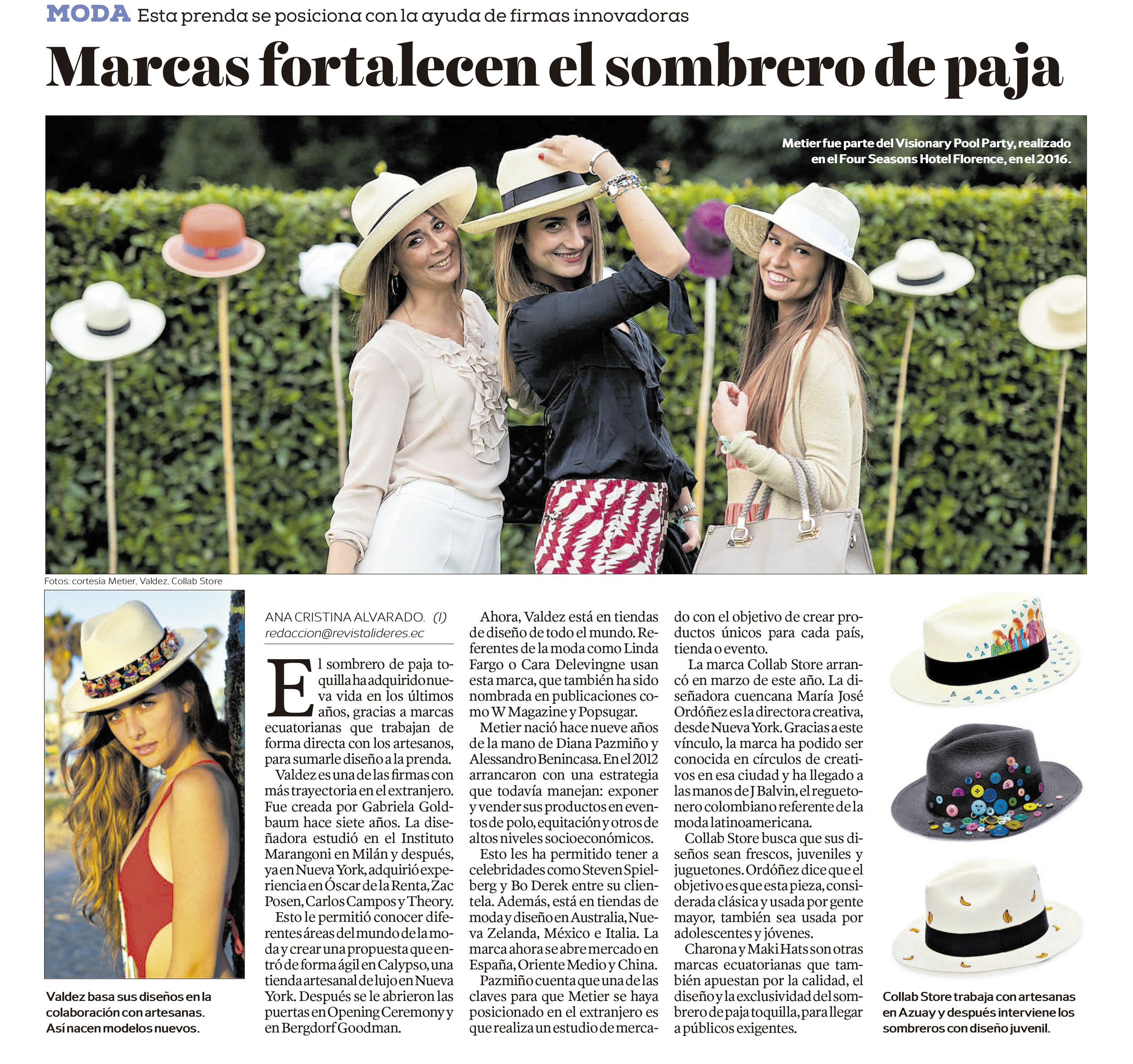Brands that empowers the Toquilla Straw Hat  El Comercio, July 2017