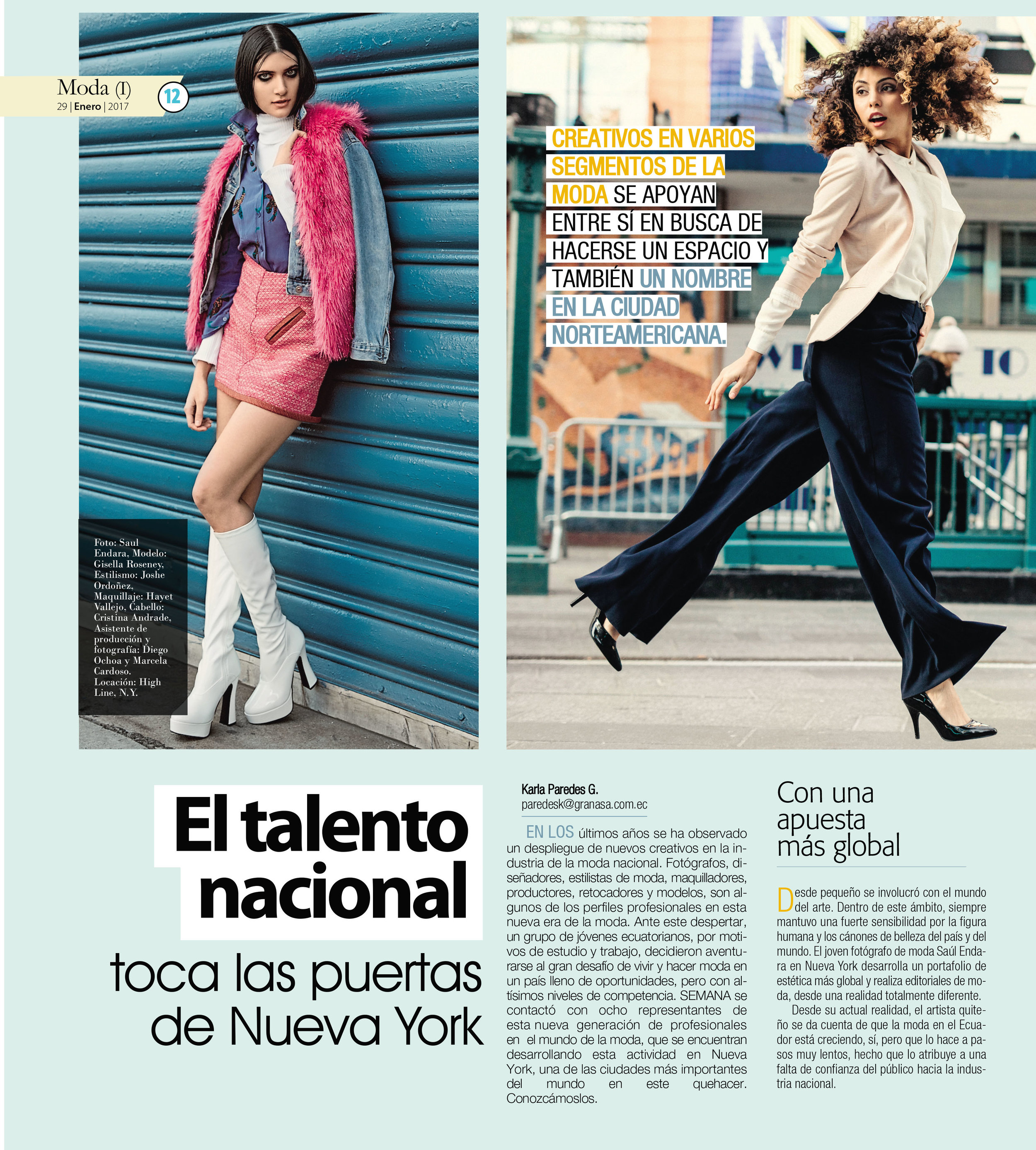 National Talent knock on the doors of New York  Semana Magazine, El Expreso, Jan 2017