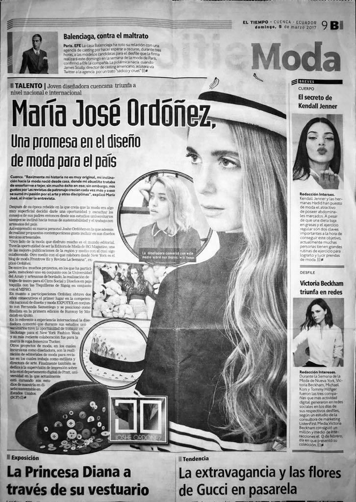 Maria Jose Ordonez,   a promise of the country's fashion design industry  El Tiempo, March 2017