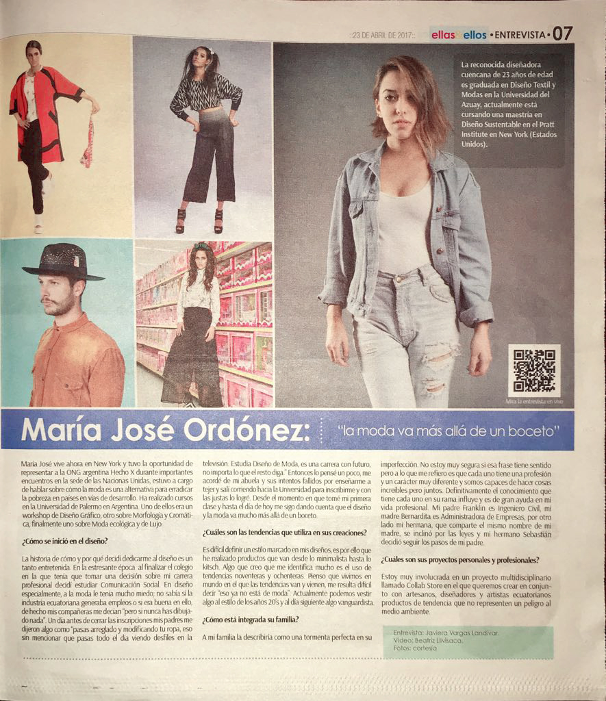 "Maria Jose Ordonez, ""fashion goes beyond a sketch"""