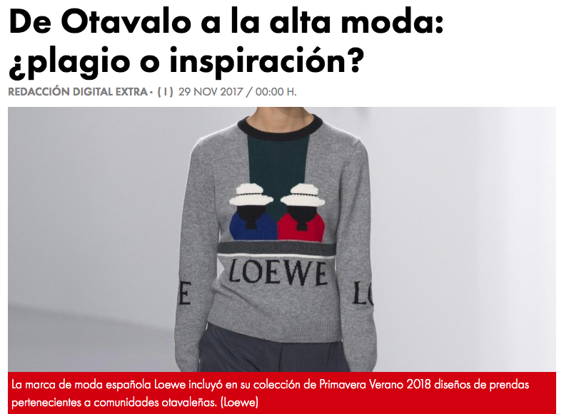 From Otavalo to high fashion: plagiarism or inspiration?  El Extra, 2017