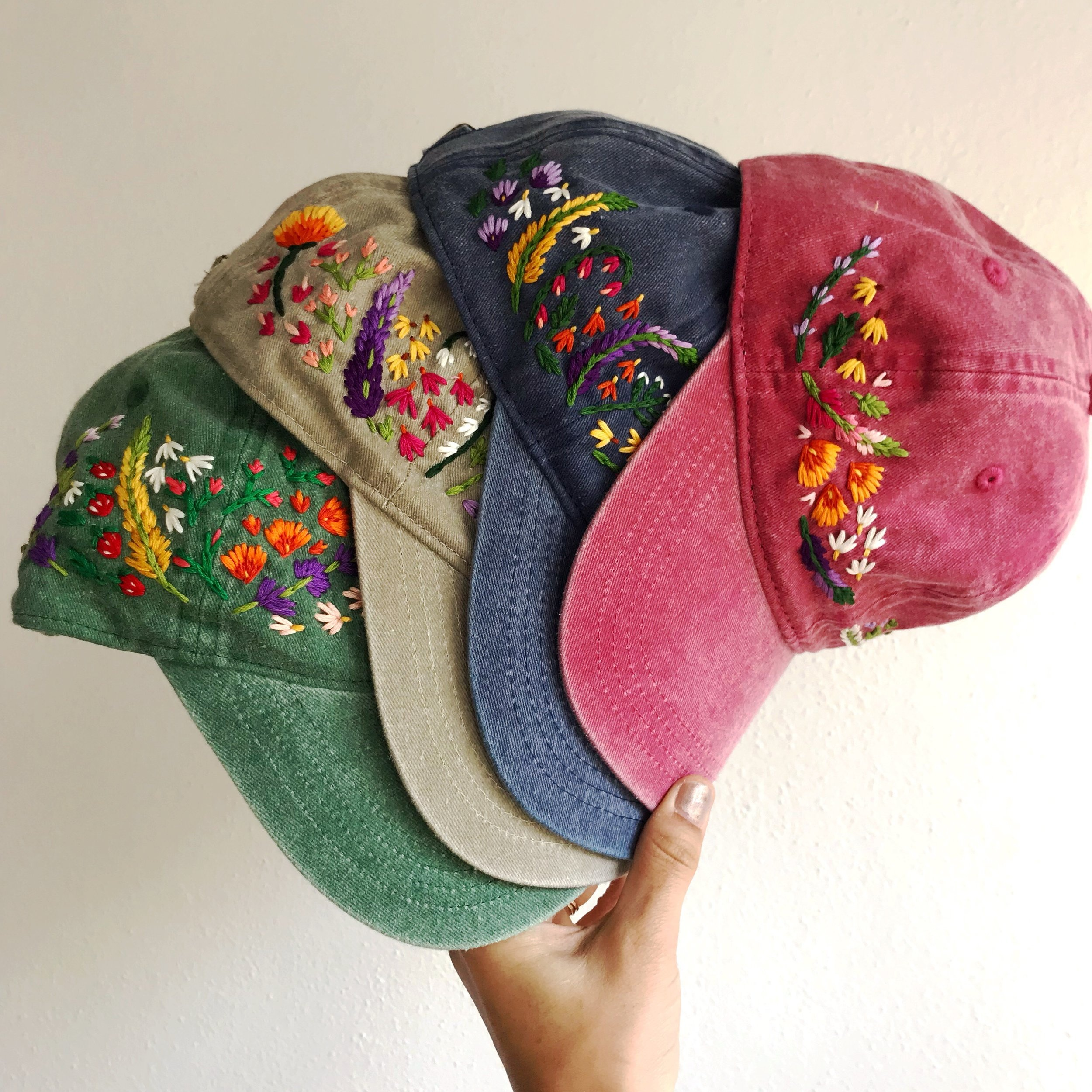 Hats - I create one of a kind hand embroidered hats under the name Mire Made Embroidery. Take a look at some of the cuties I've created.