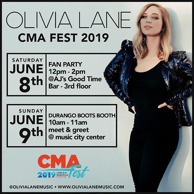 CMAFesters! Make sure to stop by Olivia Lane's fan party on Saturday & the Durango Boots Booth on Sunday #cmafest #durangocma