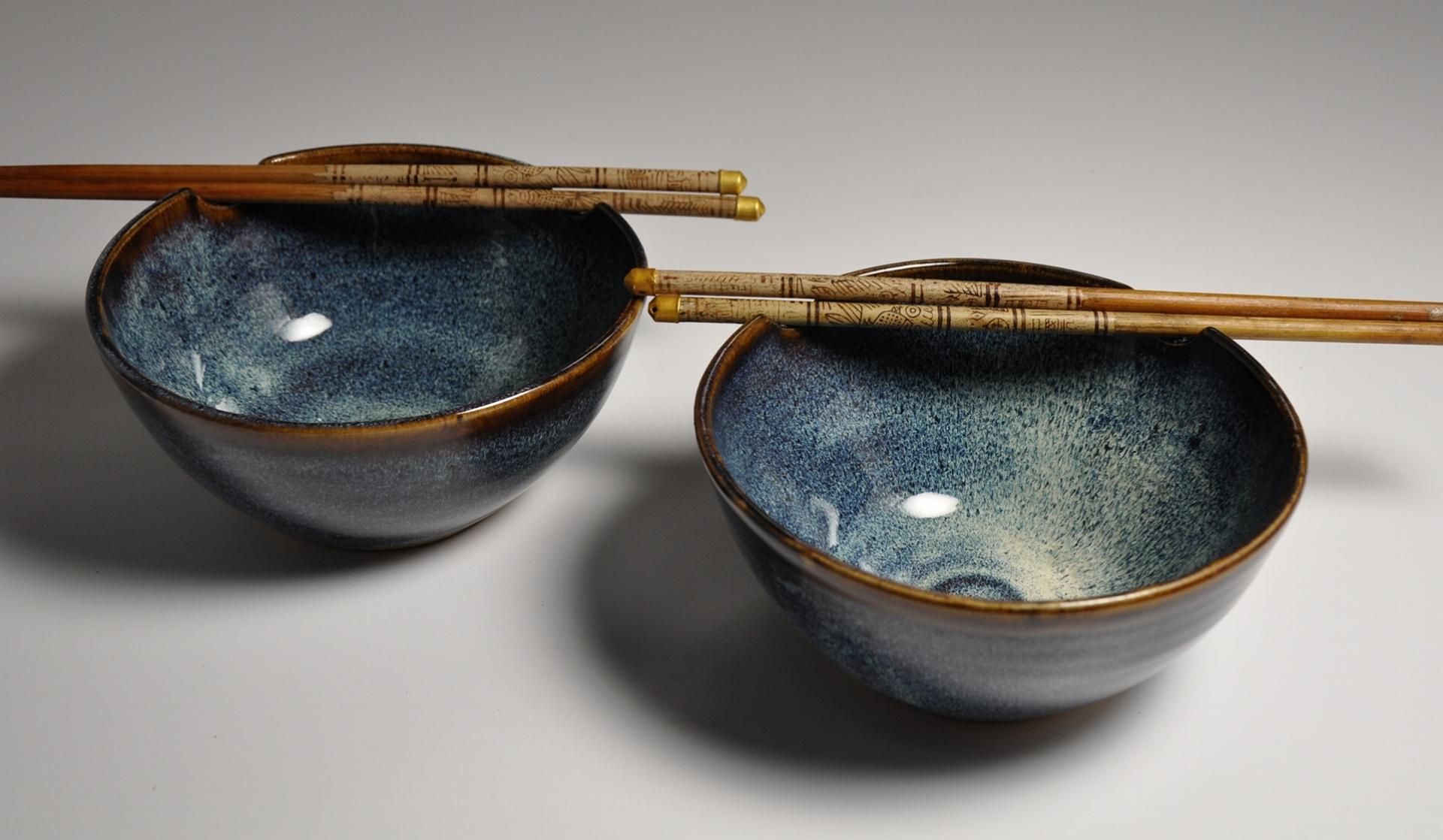 blue rice bowl set