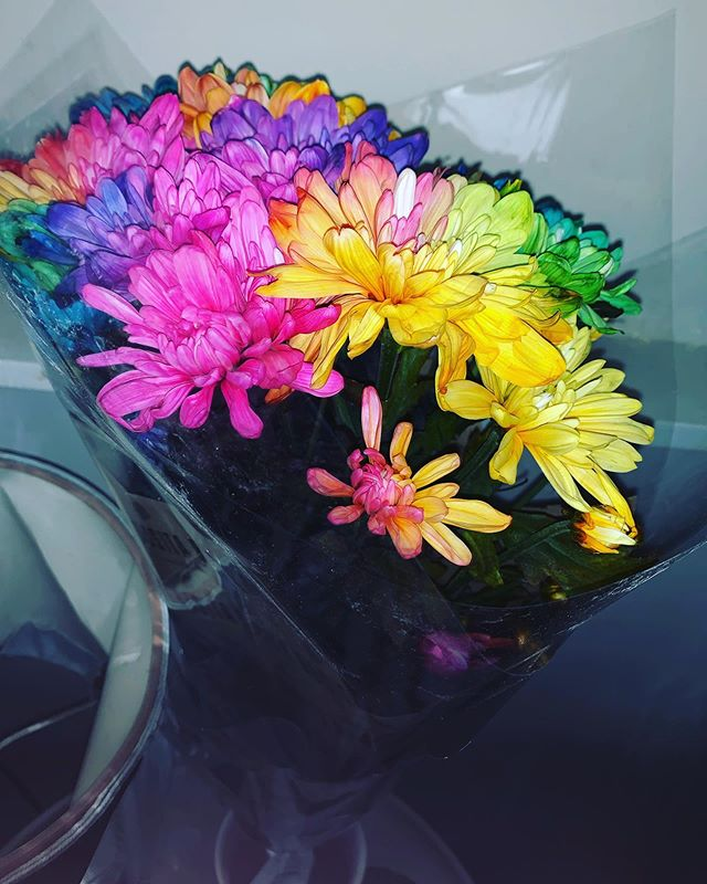 When my man wakes me up with beautiful flowers 💕💕💕 #lucky#luvkygirl#spoiltgirl#babe#boyfriend#countrygirl#rainbowflowers