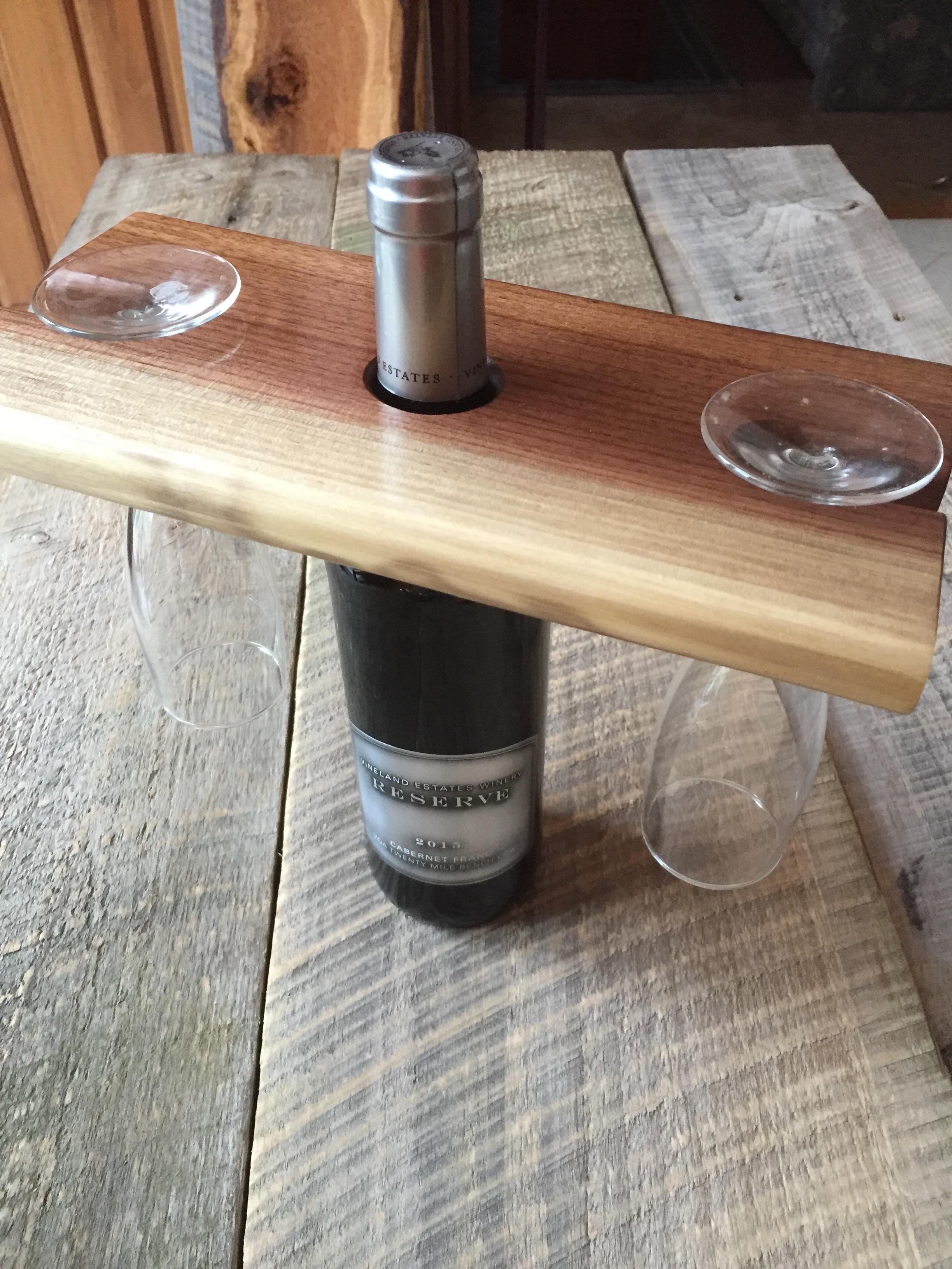 Wine bottle, glass holder -