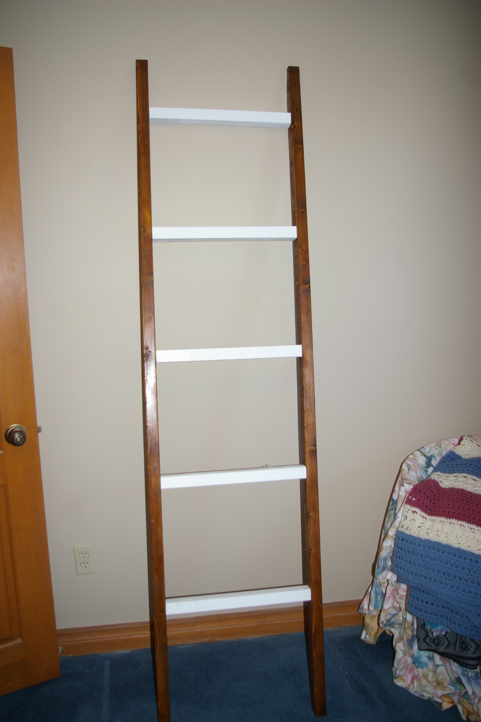 Blanket Ladder, paint and stain