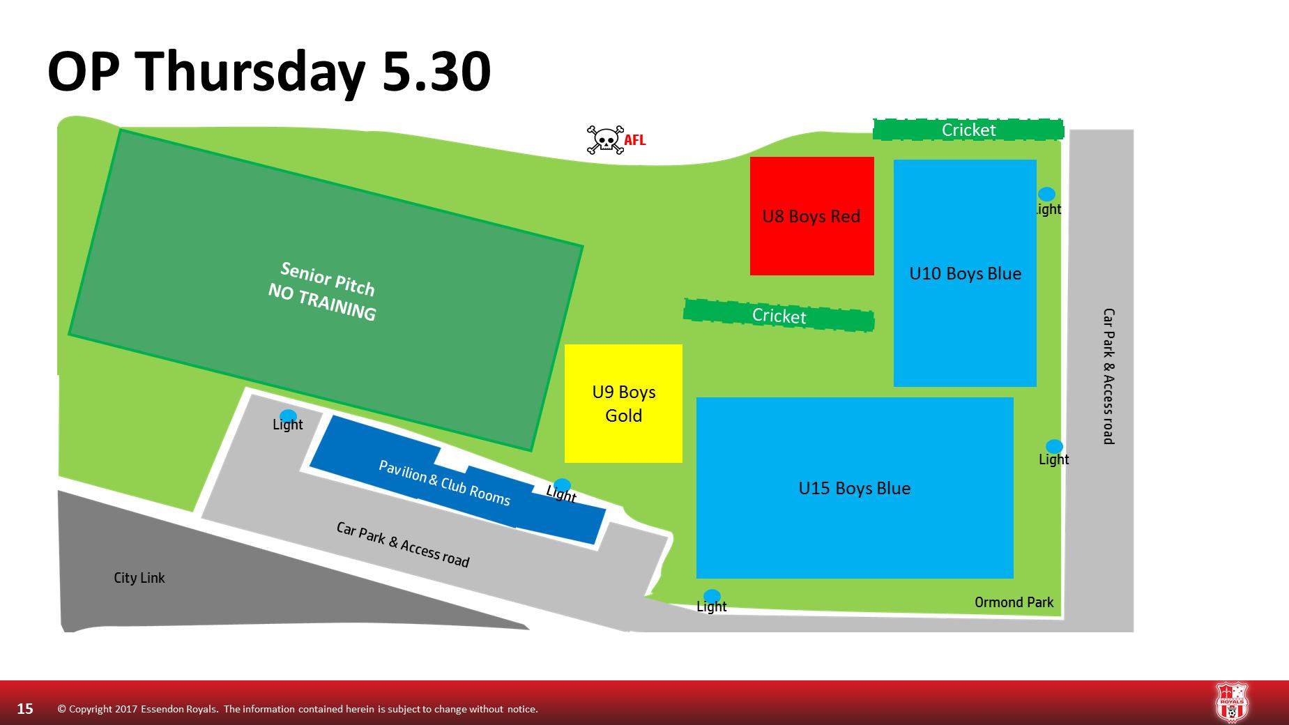 Thursday 5.30 Ormond Park