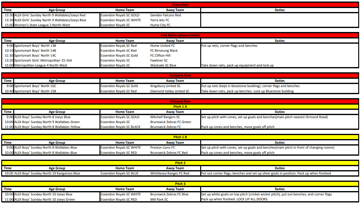 Round 11 Home Fixtures. Click to Enlarge
