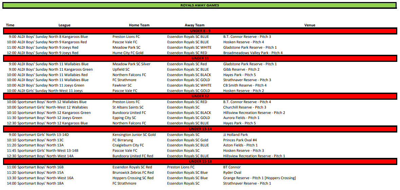 Round 11 Away Fixtures. Click to Enlarge