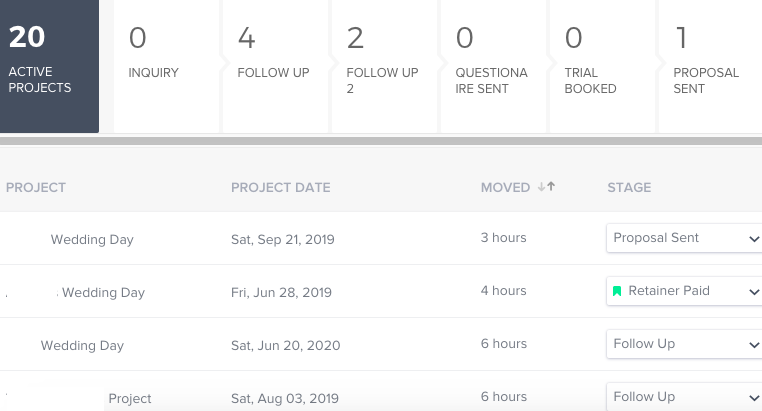 HoneyBook's Project Manager Dashboard