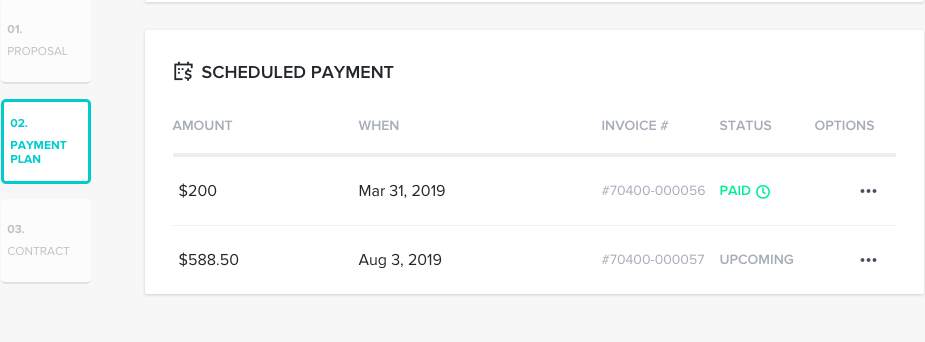 Scheduled payments within client proposals.