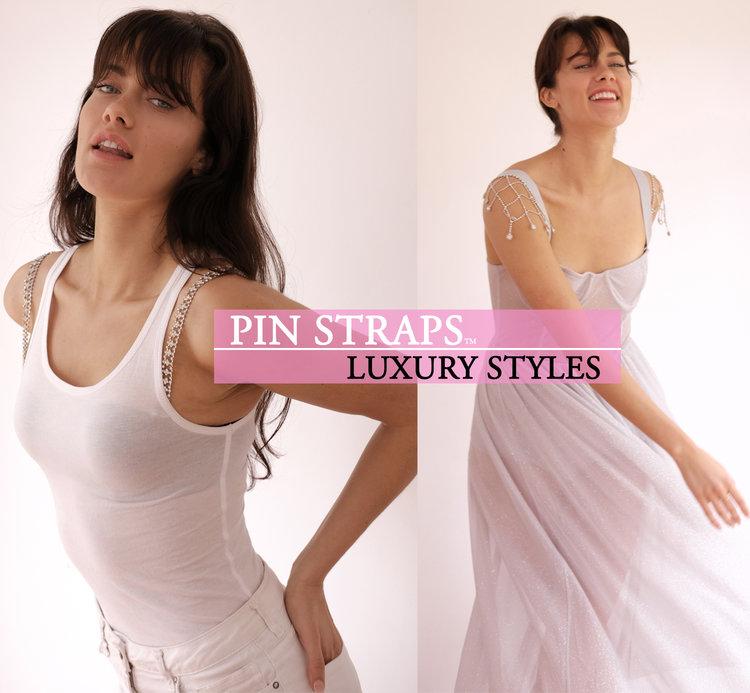 Pin Straps Rhinestone Detachable Bra Dress Straps
